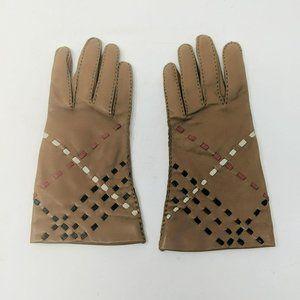 Burberry Tan Leather Weave Nova Check Gloves